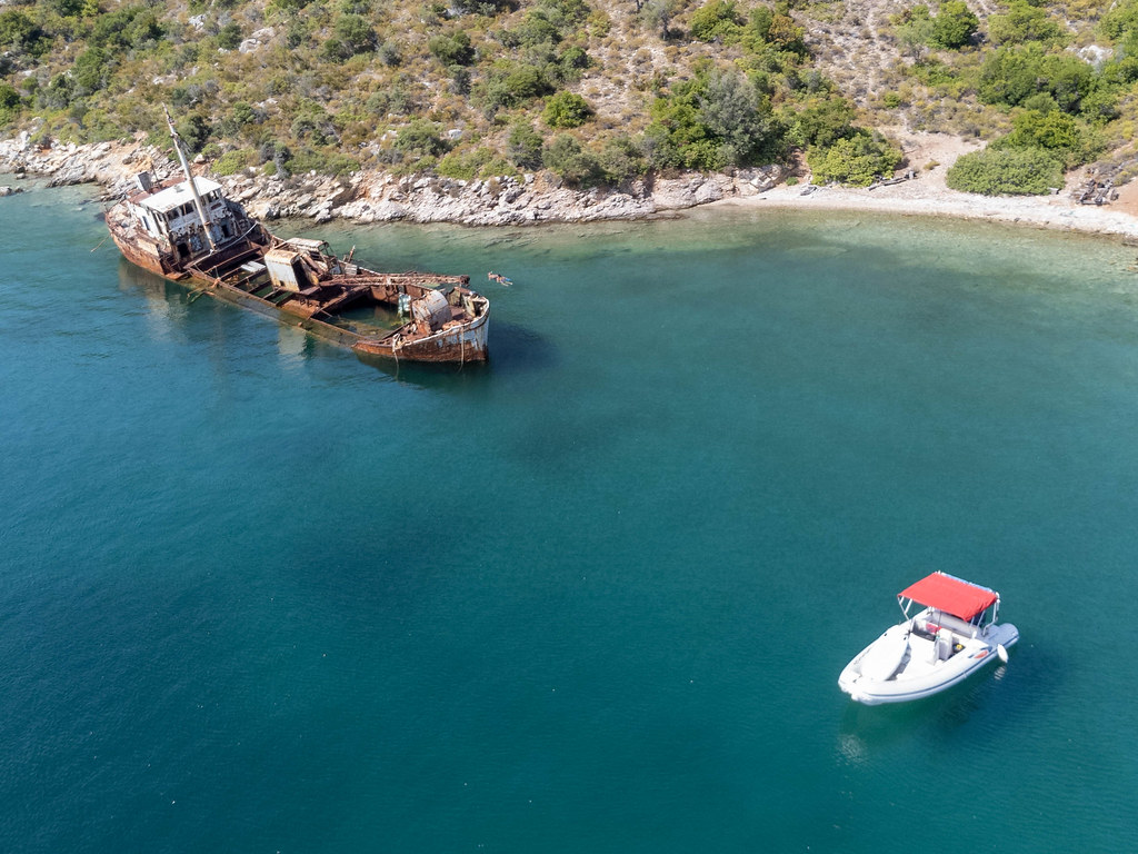 Aerial view of the Peristera shipwreck, diving excursion destination in the National Marine Park of Alonissos