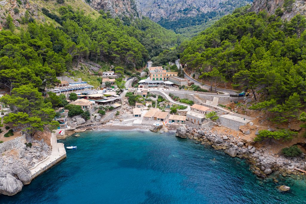 Aerial view: the remote village of Sa Calobra in the mountainous Serra de Tramuntana region of Mallorca