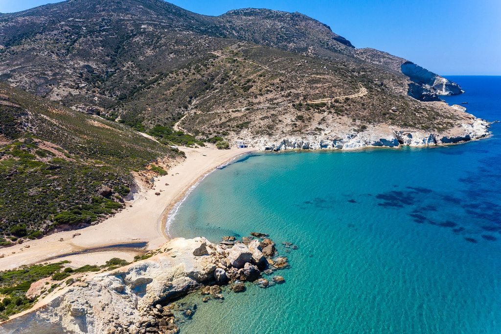 Agios Ioannis: one of the most remote and solitary beaches on Milos, on its west coast. Drone photo