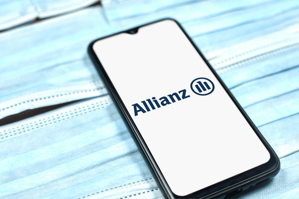 Allianz - multinational financial services company logo on smartphone display. Changing global business rules