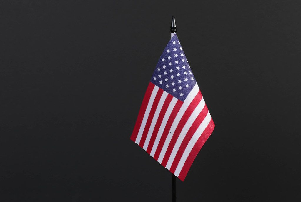 American flag isolated on black background