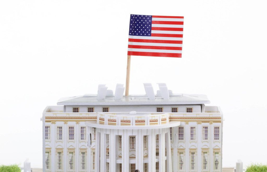 American flag on White house