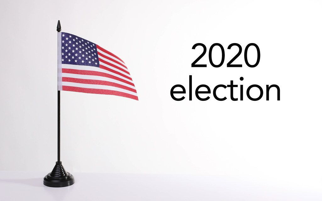American flag with 2020 election text
