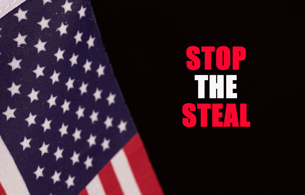 American flag with Stop the Steal text