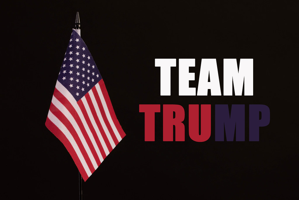 American flag with Team Trump text