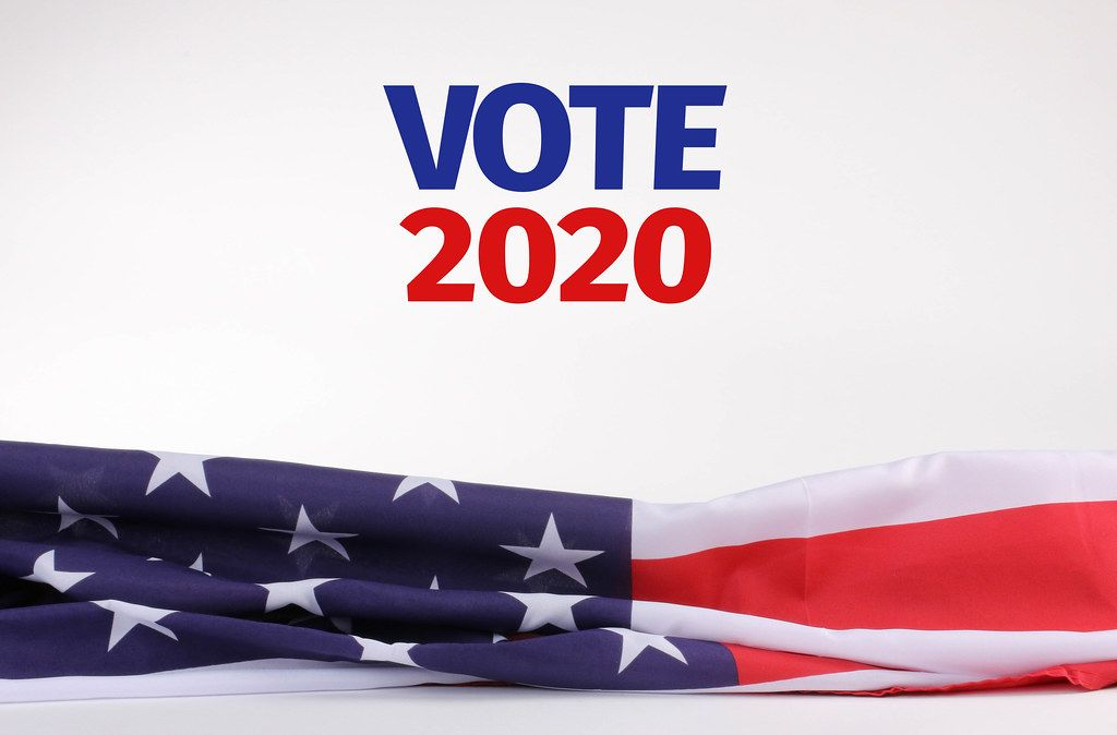 American flag with Vote 2020 text