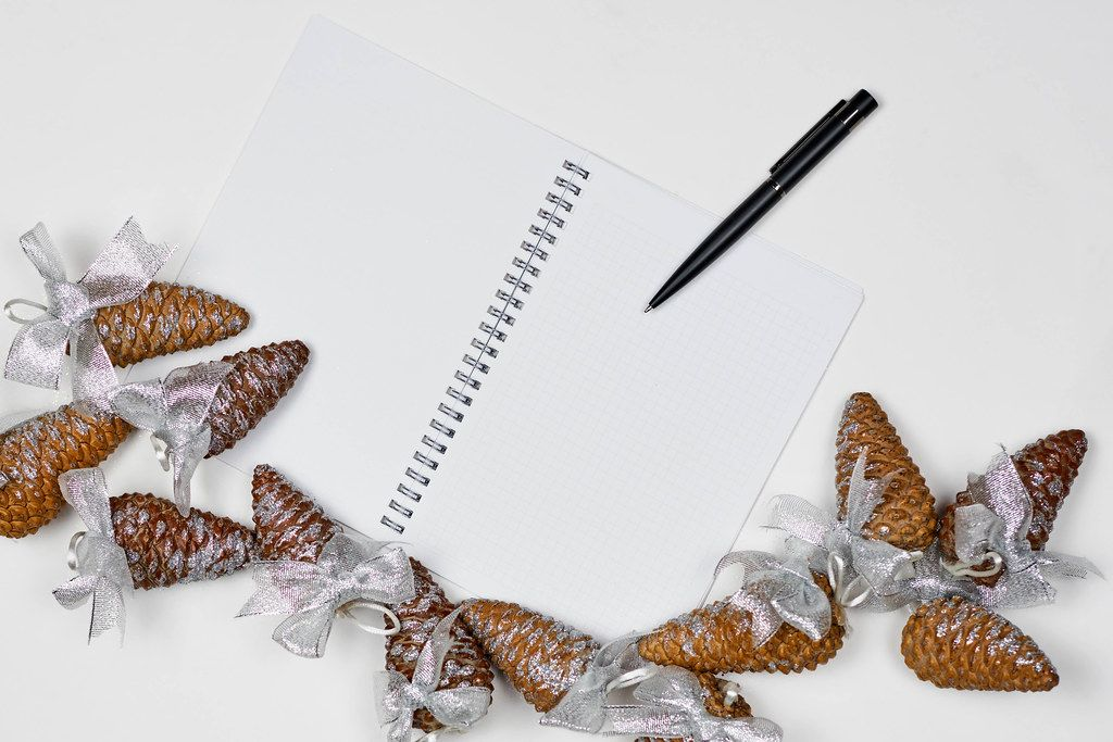 An empty notepad and decorative pine cones on the white background