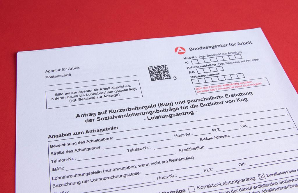 Antrag auf Kurzarbeitergeld (Kug) und pauschalierte Erstattung der Sozialversicherungsbeiträge für die Bezieher von Kug