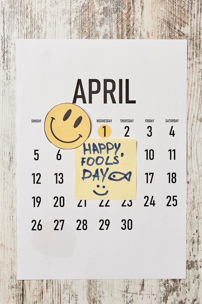 April monthly calendar with funny sticky notes. april fools day jokes