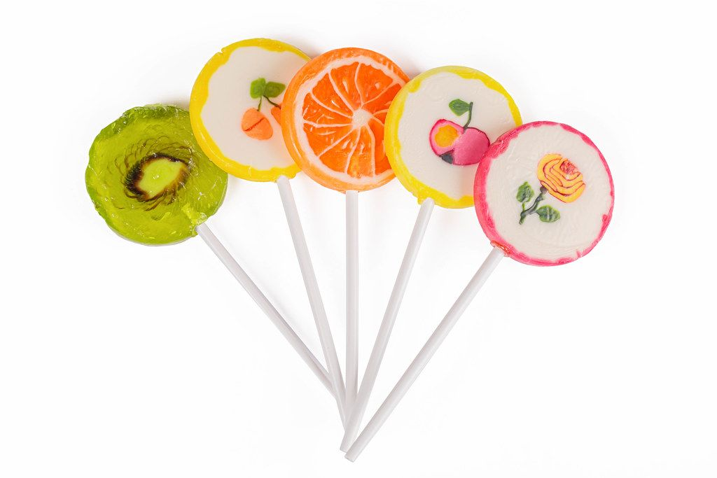 Assorted fruit lollipops, top view
