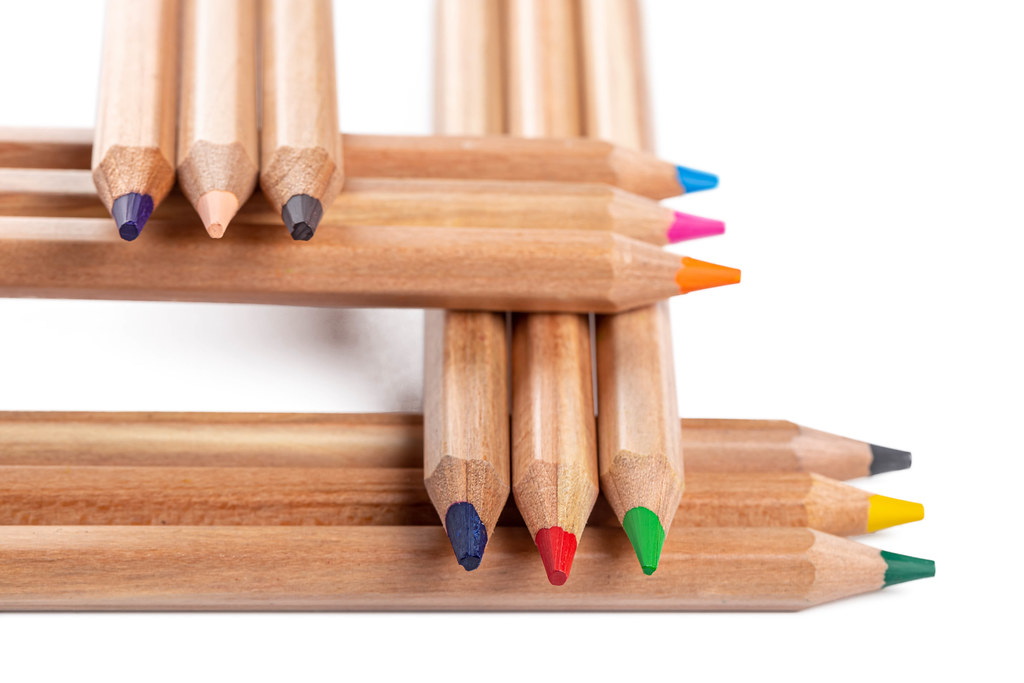 Assortment of colored wooden pencils