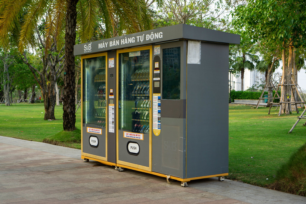 Automatic Vending Machine with several Refrigerated Drinks in Vinhomes Central Park in Ho Chi Minh City, Vietnam