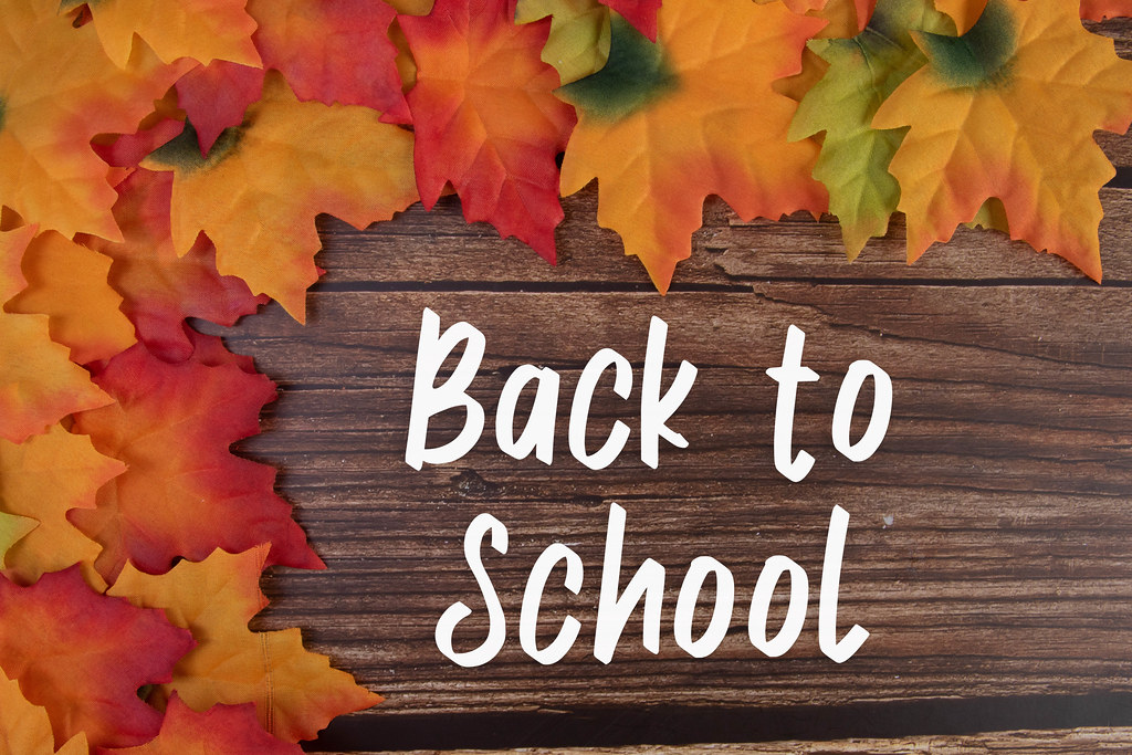 Autumn leaves with Back to School text