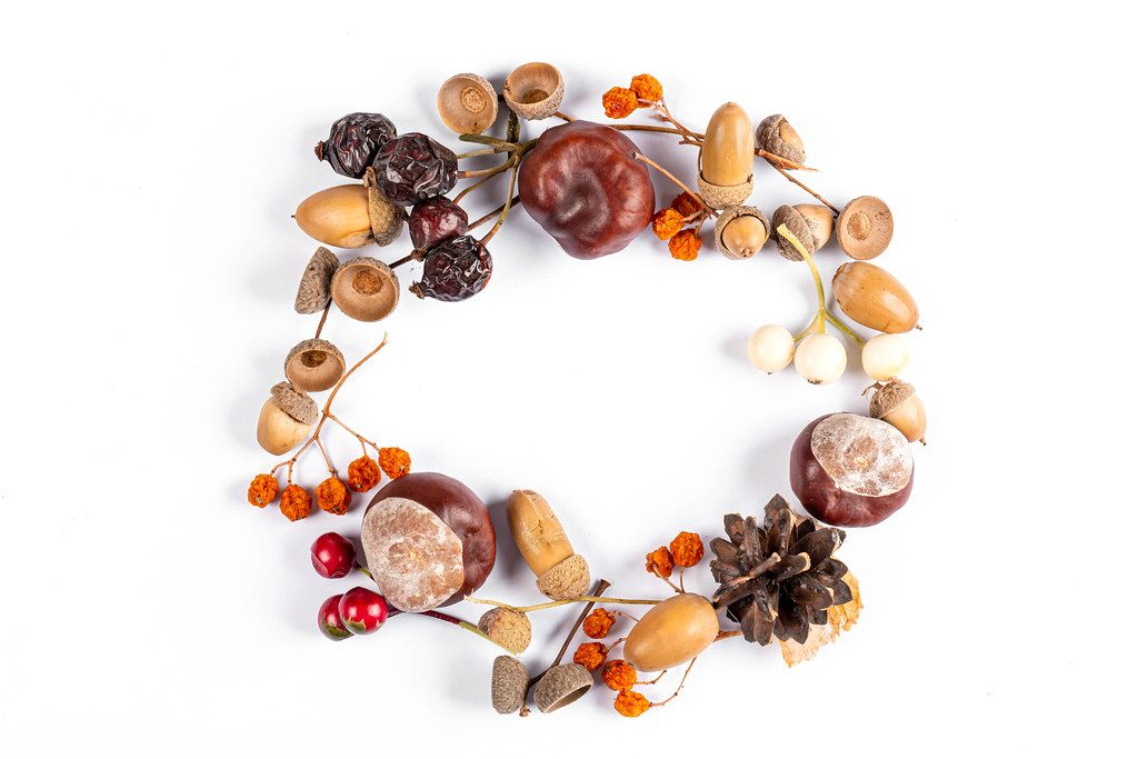 Autumn round frame with chestnuts, acorns and dry berries, top view