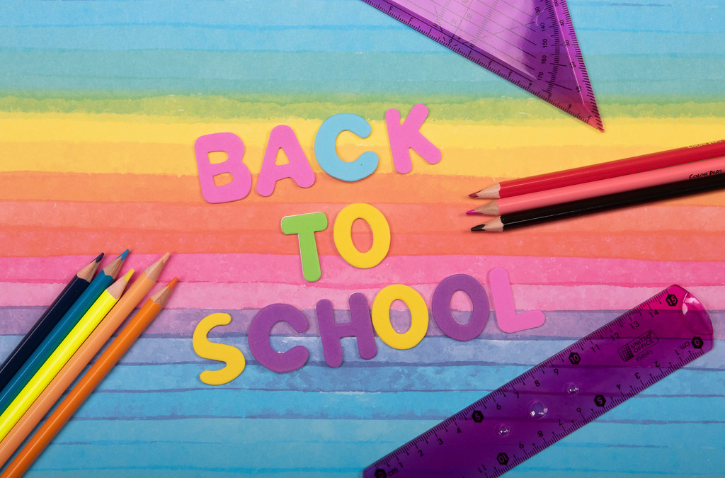 Back to School text on colorful background