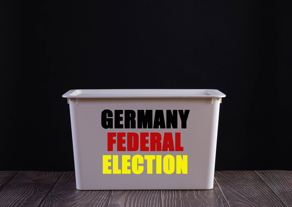Ballot box with Germany Federal Election text on black background