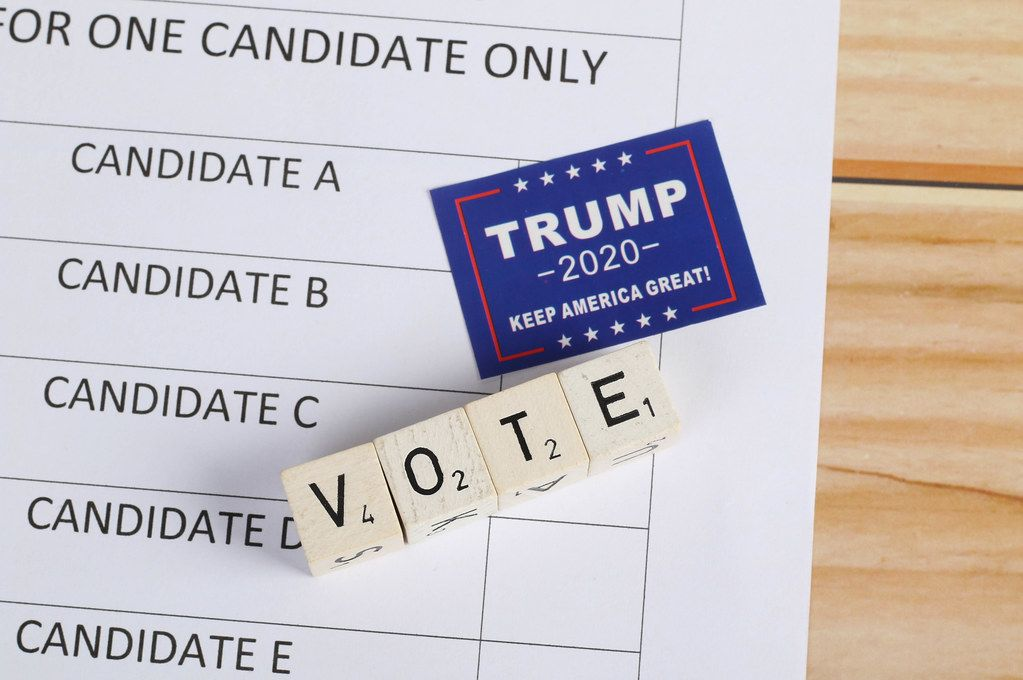 Ballot paper with Trump 2020 sticker and vote text
