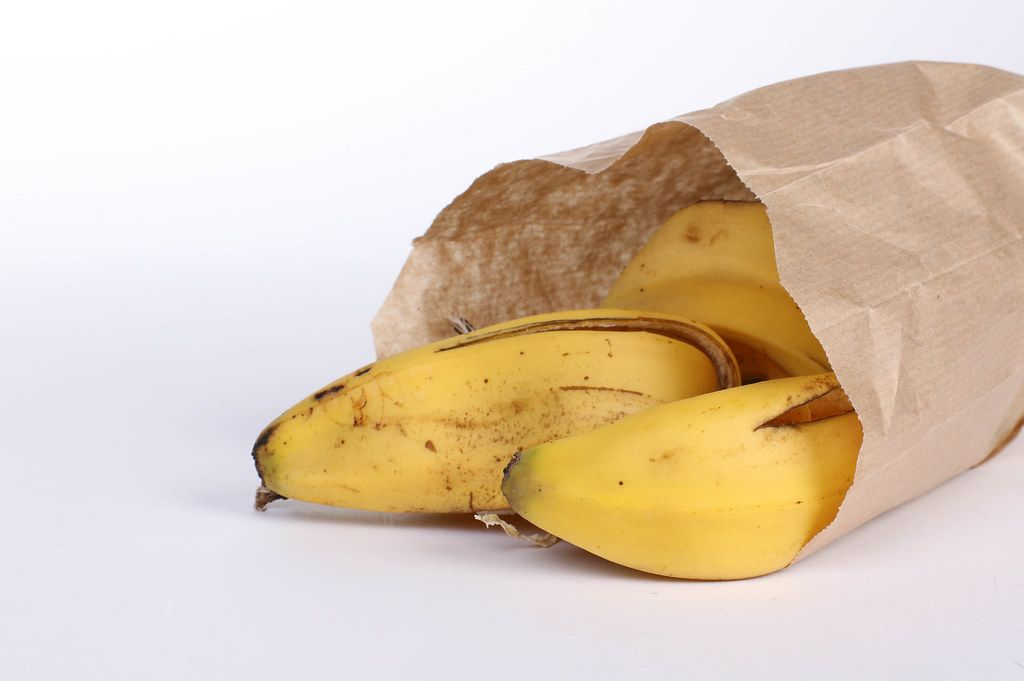 Banana peels in a paper bag