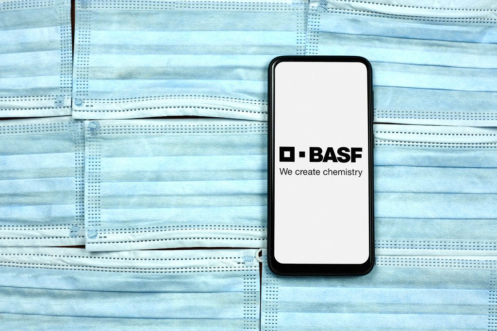 BASF SE - German chemical company logo on smartphone screen