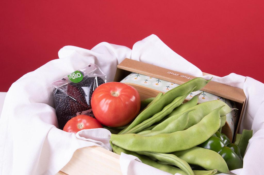 Basket full of home grown vegetables