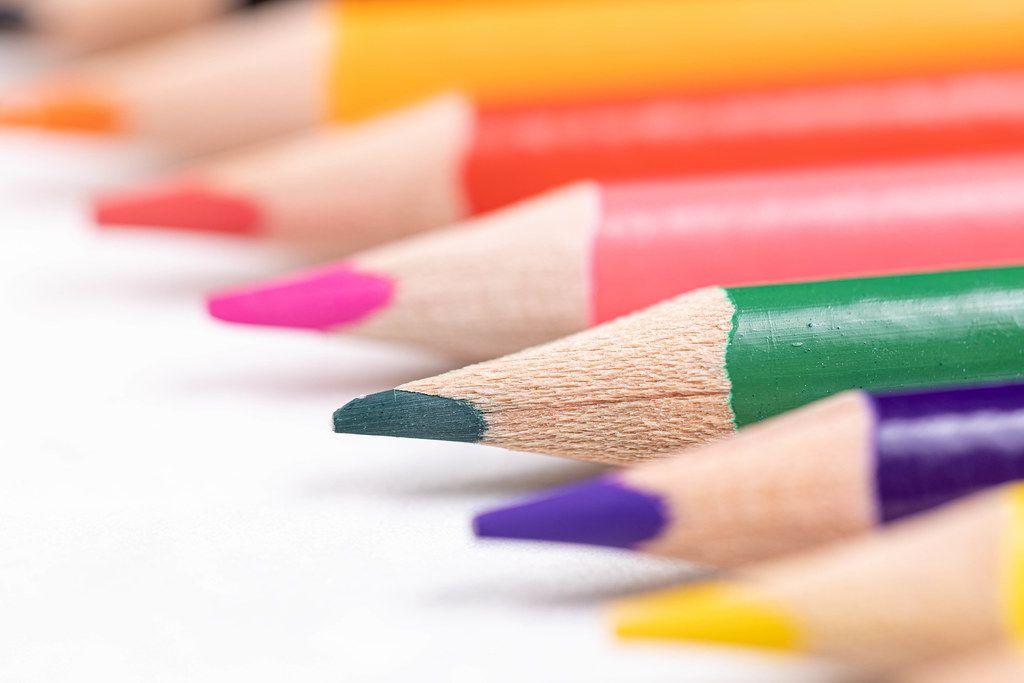 Beautiful Colorful Wooden Pencils aligned diagonal