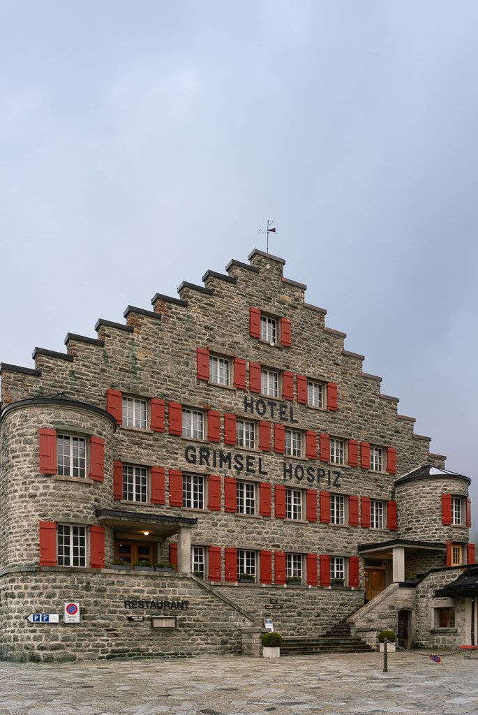 Beautiful old stone hotel – Grimsel Hospiz – in Switzerland
