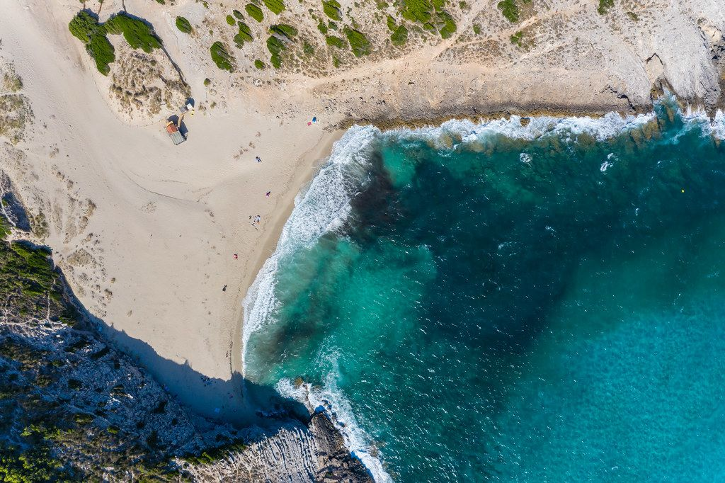 Beautiful sandy beach on the north-east coast of Majorca. Cala Torta, 10km away from Artà. Drone pic