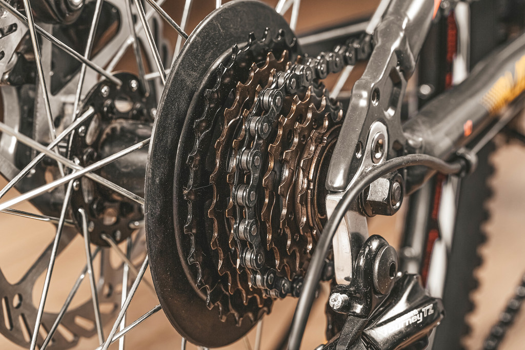 Bicycle gears cassette and chain on bike, close up