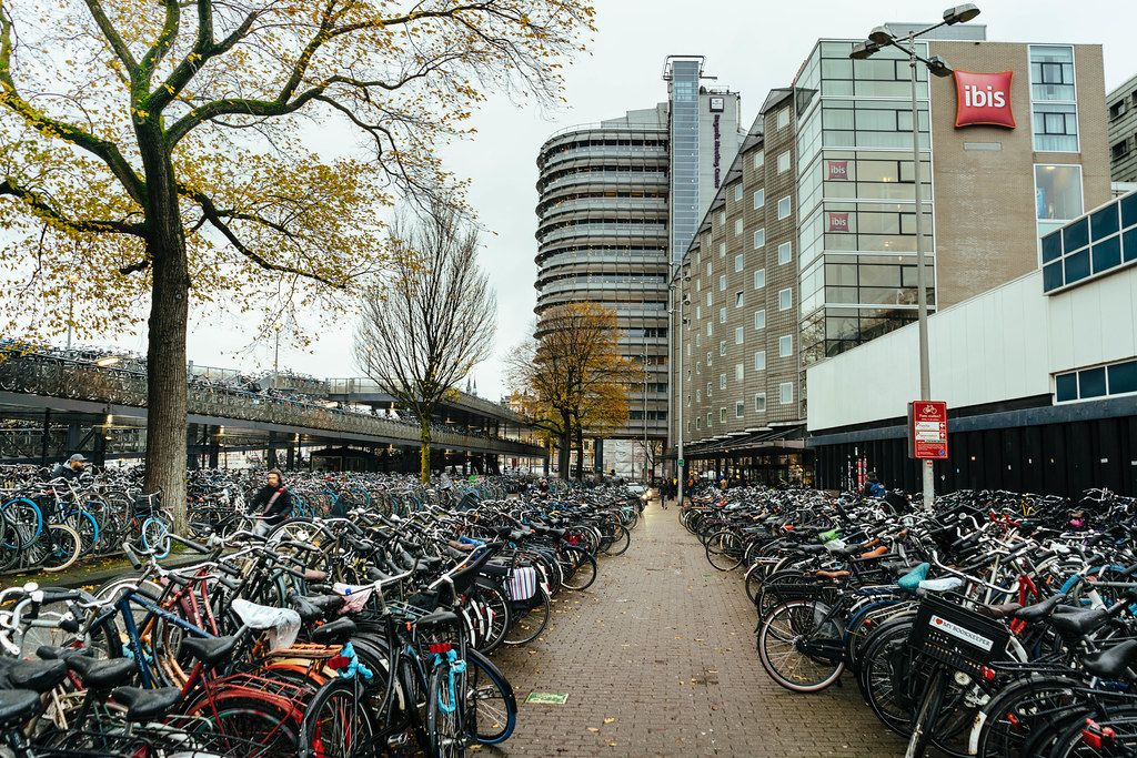 Bicycle parking at the Amsterdam's main station with miriad of bikes parked