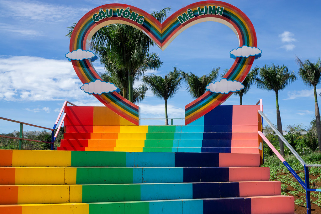 Big Heart in Rainbow Colors with Painted Stairs leading to it at Me Linh Cafe in Da Lat, Vietnam