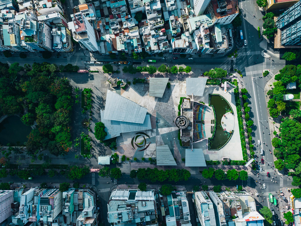 Bird View Drone Photo of the abandoned Performance Art Theatre at 23/9 Park in District 1 in Ho Chi Minh City, Vietnam