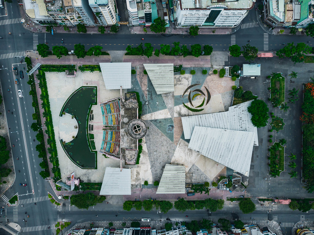 Bird View Drone Shot of abandoned Performance Art Theatre and Asiana Food Town at 23/9 Park in Ho Chi Minh City, Vietnam