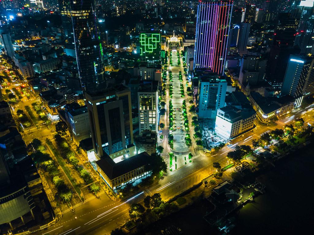 Bird View Night Photo of Nguyen Hue Walking Street with People