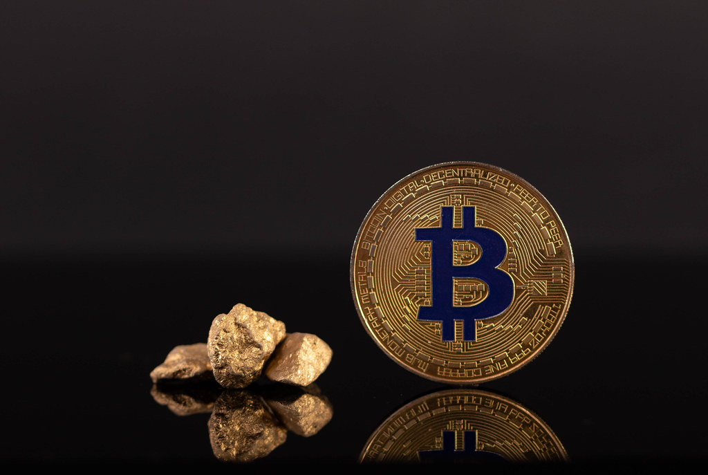 Bitcoin and gold nuggets