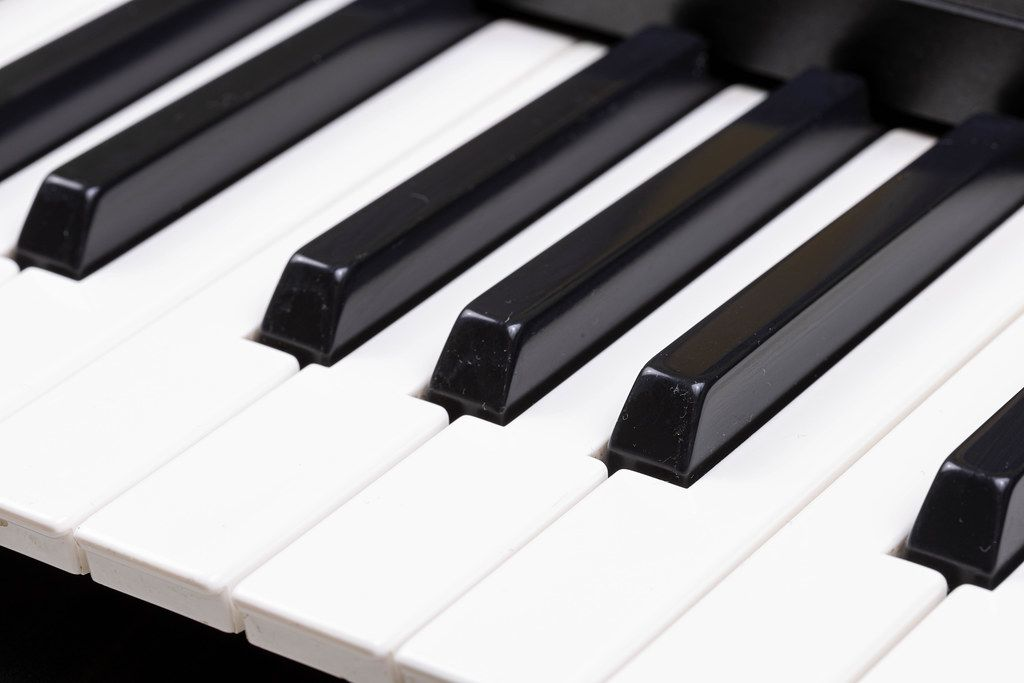 Black and White Piano keyboard closeup image