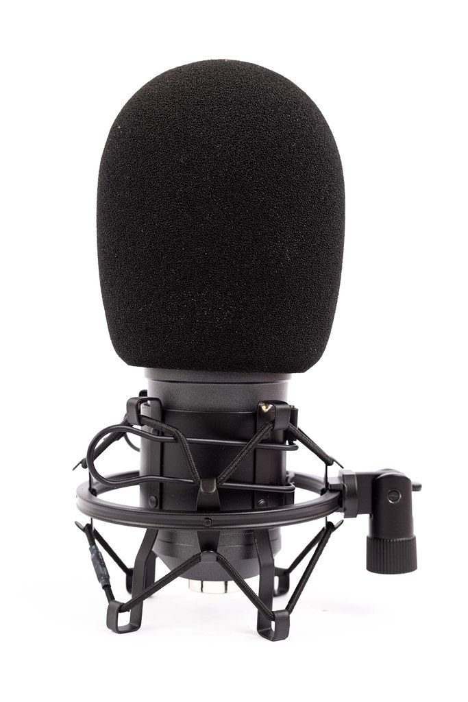 Black Studio condenser Microphone with sponge wind shield