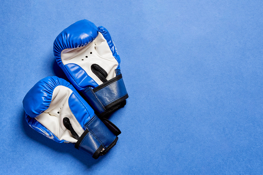 Blue kickboxing training hand gloves