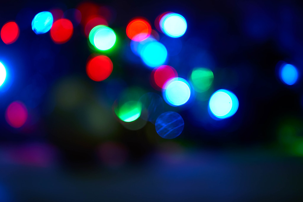 Blurred colorful Christmas bokeh background