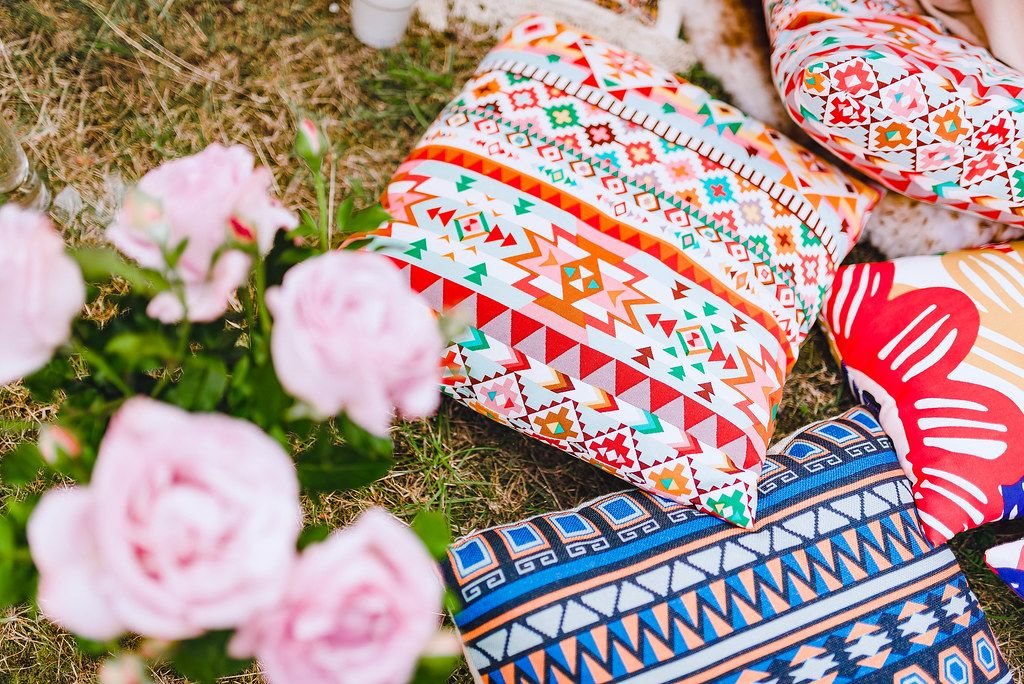 Bohemian Pillows Decor And Roses