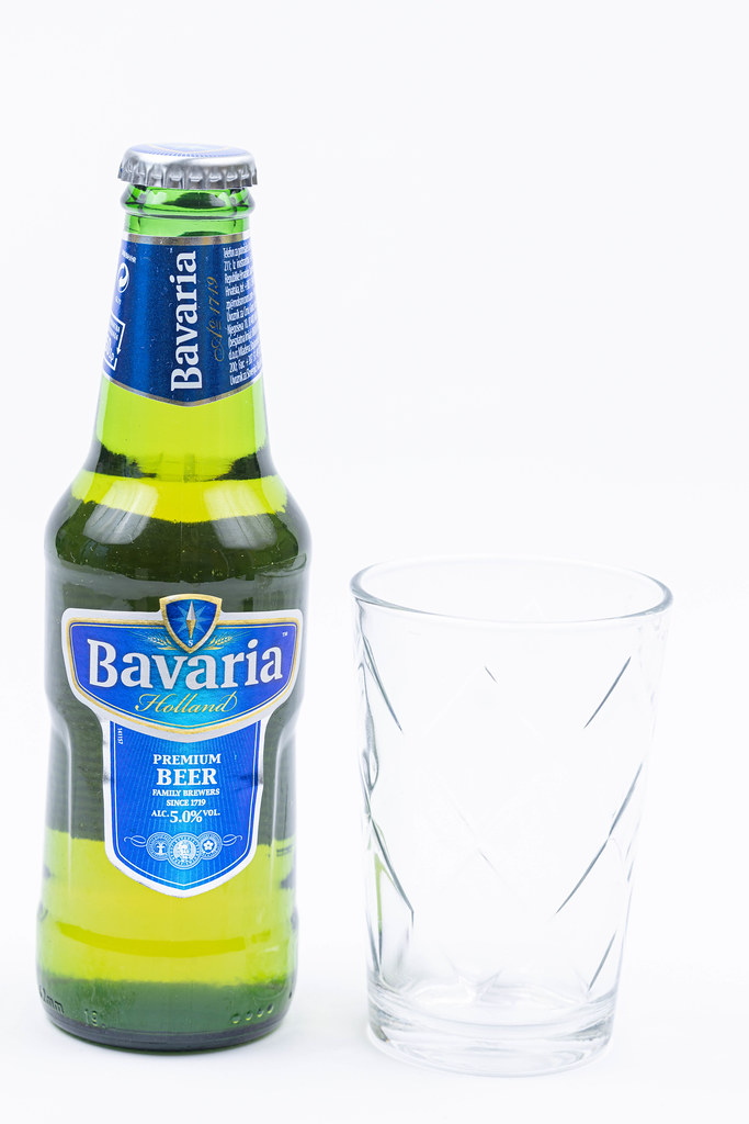 Bottle of Bavaria Beer isolated above white background