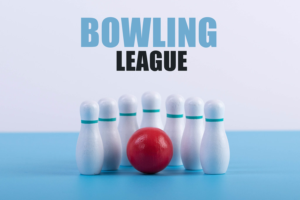 Bowling pins and ball with Bowling League text