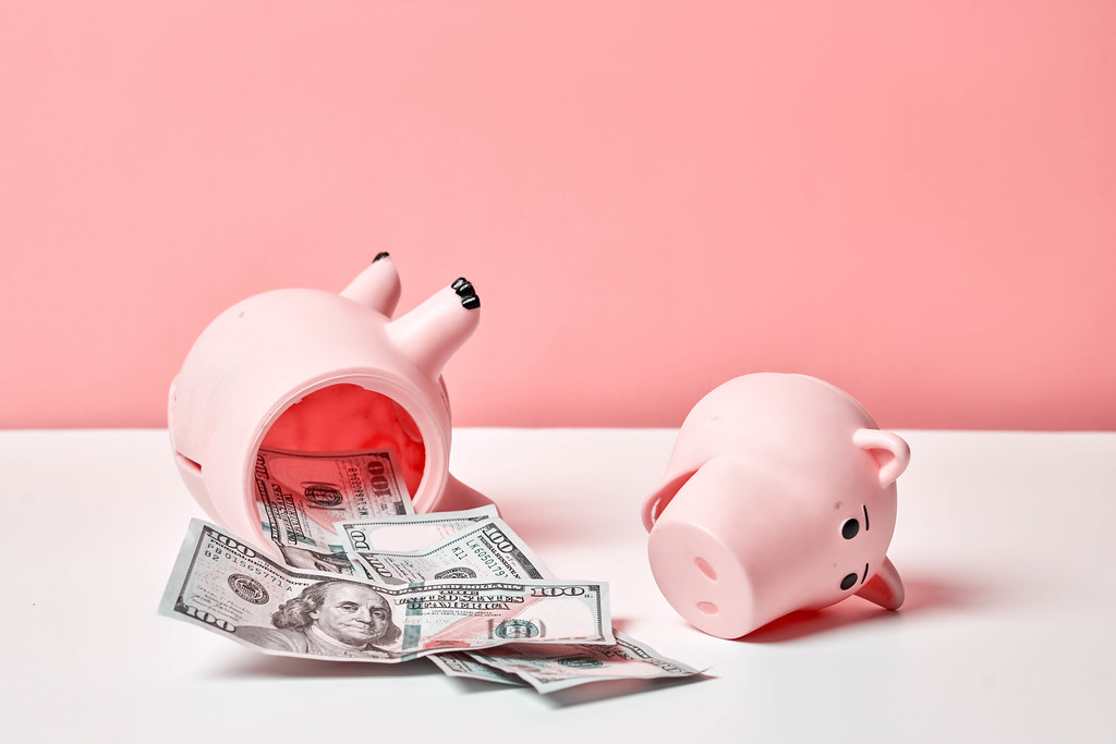 Broken Piggy bank - financial crisis after coronavirus covid-19 pandemic