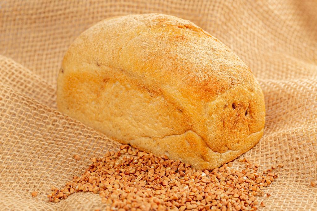 Buckwheat bread and buckwheat on burlap