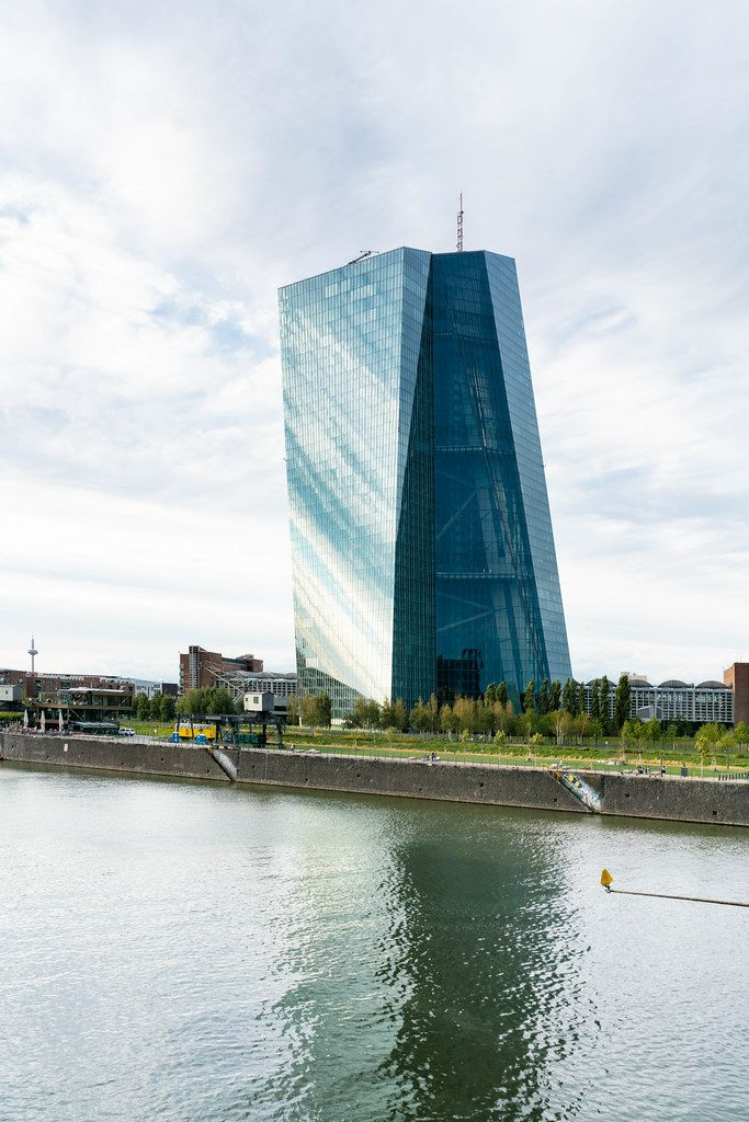 Building of European Central Bank on the bank of river Main in Frankfurt, Germany