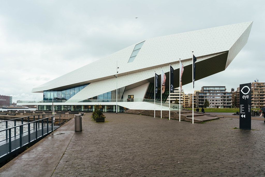 Building of the modern Eye museum in Amsterdam, Netherlands