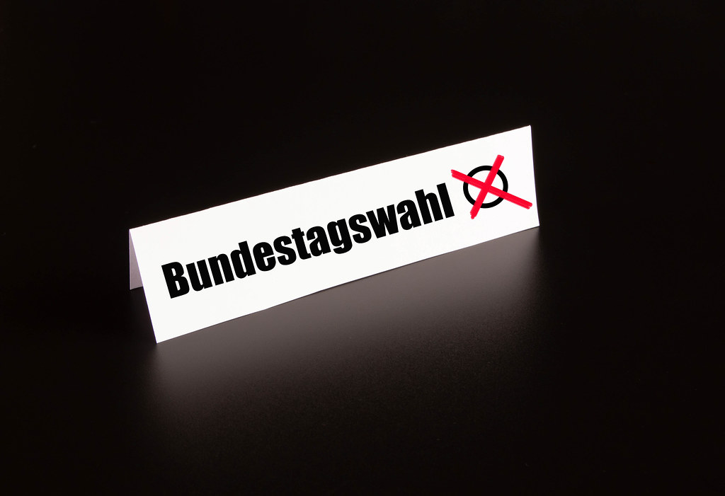Bundestagswahl text on black background