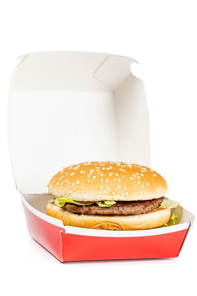 Burger in a cardboard box. Food from a takeaway