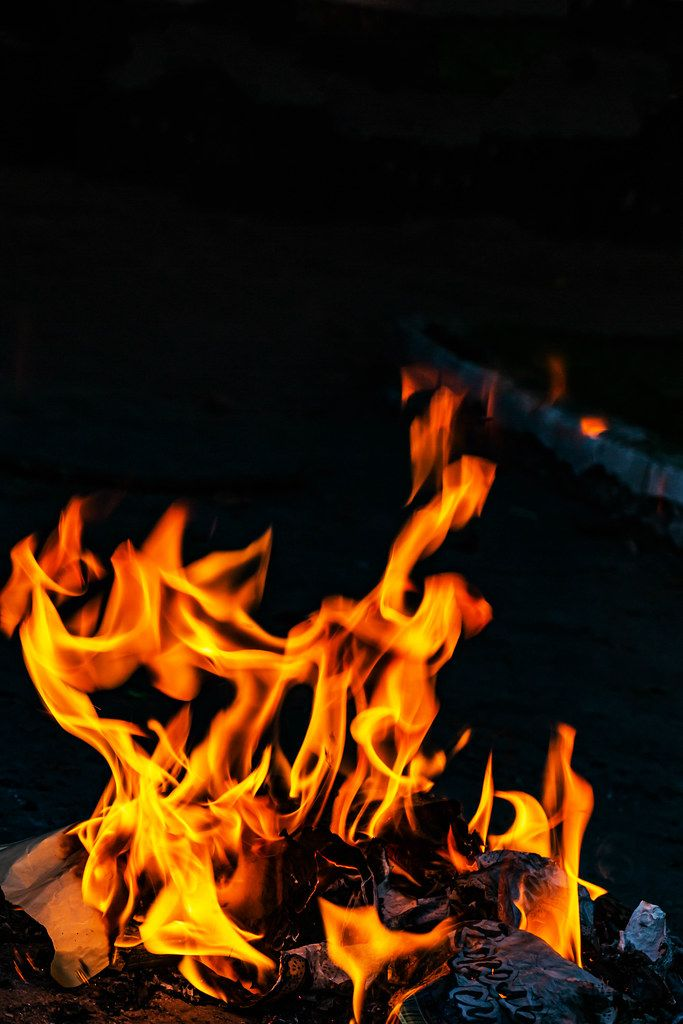 Burning fire at night
