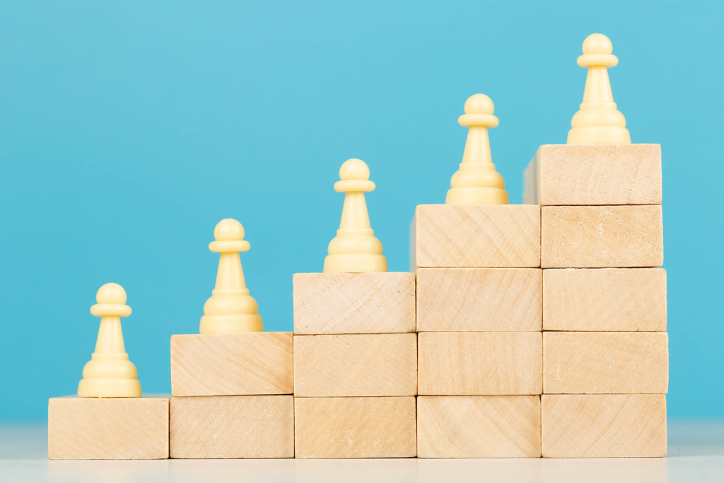 Business hierarchy, strategy concept with chess pieces