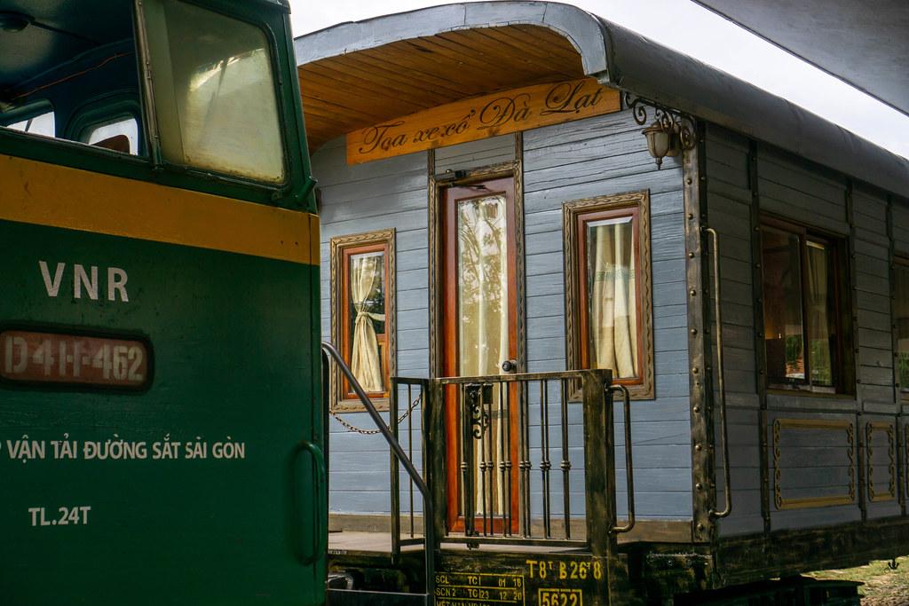 Cafe inside an old Wooden Train Waggon at the Dalat Railway Station in Da Lat, Vietnam